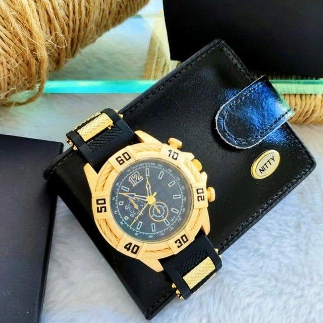 Relógio masculino com carteira