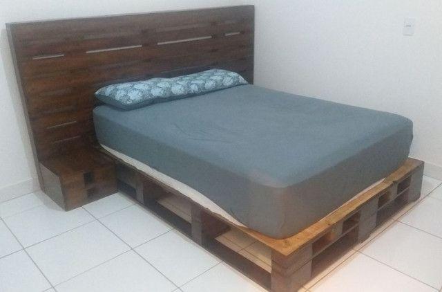 Base cama casal e cabeceira rústica  - Foto 2