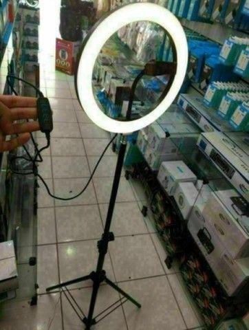 Ring Light Led Completo Iluminador Portátil 26cm Tripé 360º - Foto 2