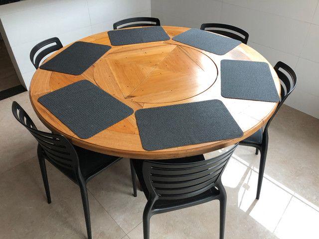 Mesa em madeira Peroba redonda - Foto 5