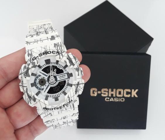 f89cfdb406a Relógio G Shock Casio Branco Com Listra - Bijouterias