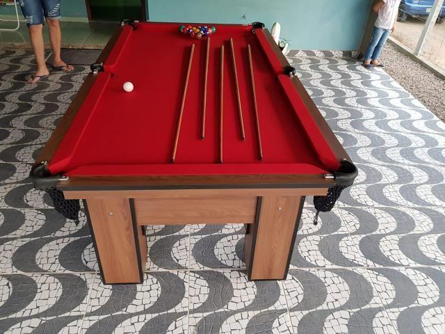 Mesa de Bilhar Vermelha Cor Imbuia Modelo RTZ0431