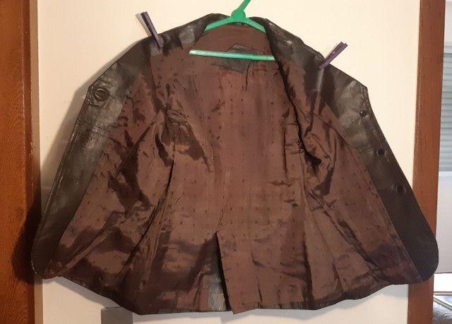 Casaco de couro legítimo marrom - Foto 4