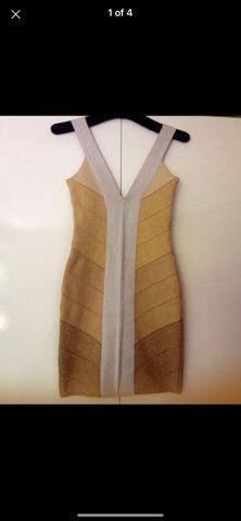 Vestido bandagem dourado - Foto 3