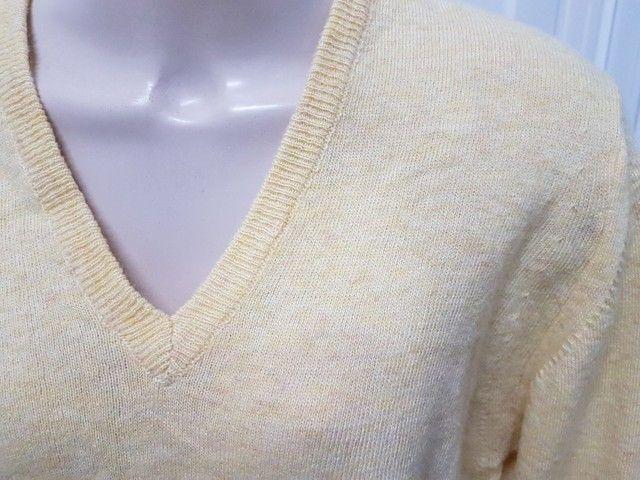 Pouco uso: suéter unissex fino em lã argentina amarelo unissex 48 - Foto 4