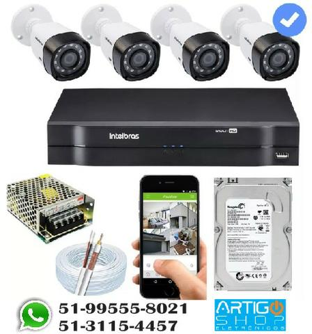 Kit Cftv 4 Cameras Multi Hd 720p 1mp Dvr Intelbras Mhdx 1004