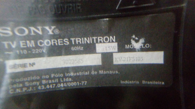 Tv Sony 21 Pol Tela Plana 110v Para Retirada De Peças - Foto 5