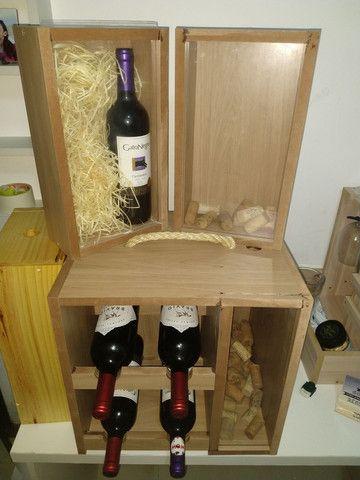 Box Mini Adega com porta rolha, porta rolhas, box com suporte para taça de vinho em MDF - Foto 5