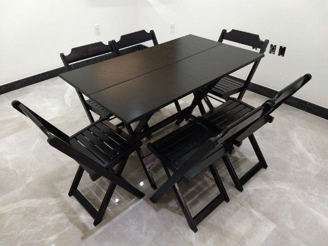 Jogo de Mesa Dobrável 1,20x70 c\6 cadeiras - Foto 3