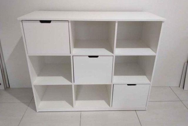 Organizador/ Rack/ estante/ nichos/ com gavetas/ loja /multiuso novo MDF