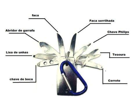 Chaveiro Canivete De Metal Com 8 Funções - Foto 3