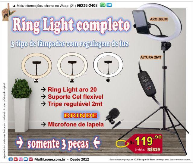 Ring Light completo, tripe 2mt, aro 20cm, Suporte Cel + Brinde