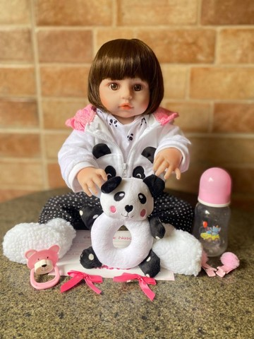 Linda Boneca bebê Reborn toda em Silicone Realista 48cm Nova Original (aceito cartão  - Foto 2