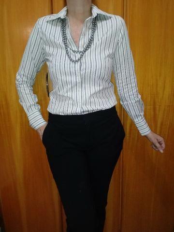 a2b6ceb80 Camisa social listrada da Le Lis Blanc - Tam P ( blusa feminina ...