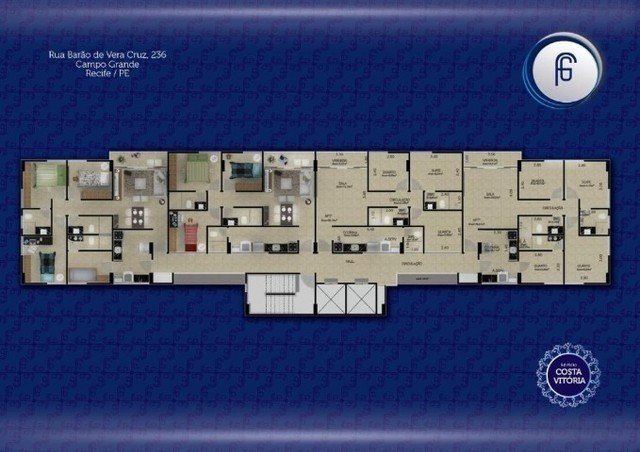 (L)Excelente apartamento 3 quartos, 65m² em Campo Grande - Edf. Costa Vitória - Foto 4