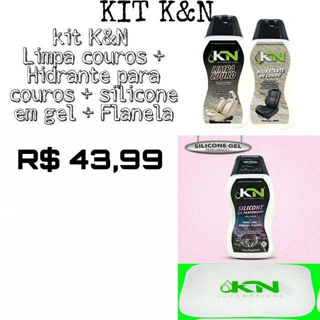 Kit produtos K&N Limpa, revitaliza couros, Silicone em gel para plásticos uso geral