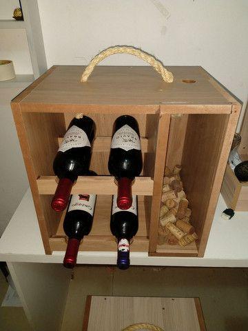 Box Mini Adega com porta rolha, porta rolhas, box com suporte para taça de vinho em MDF - Foto 2