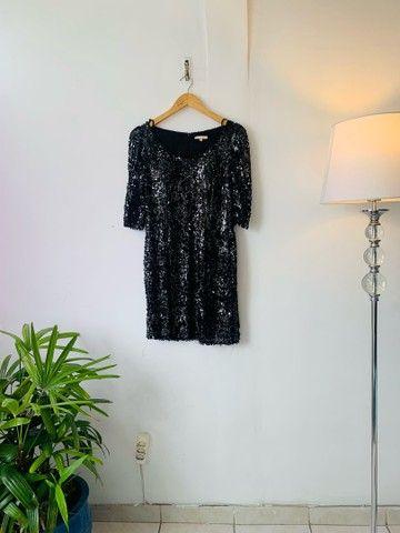 Vestido paetê curto preto P/M