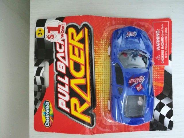 Carrinho De Brinquedo Novo Pull Back Racer Azul Fricção - Foto 3