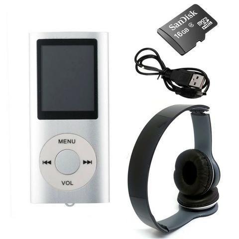 Mp3 Mp4 Player Slim Multimídia Kit C/ Cartão 16gb + Fone M - Foto 2