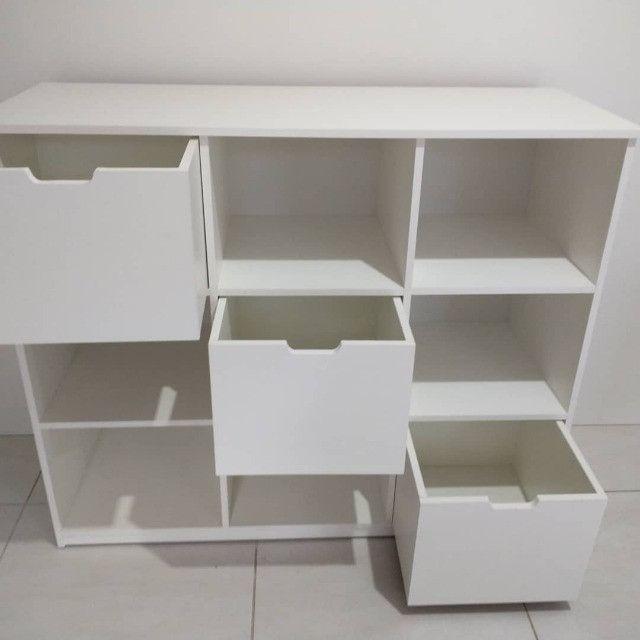 Organizador/ Rack/ estante/ nichos/ com gavetas/ loja /multiuso novo MDF - Foto 2