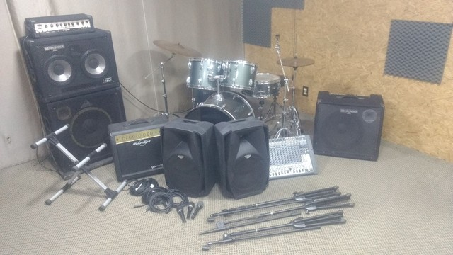 Estúdio de ensaio completo bateria amplificador cx ativa microfone