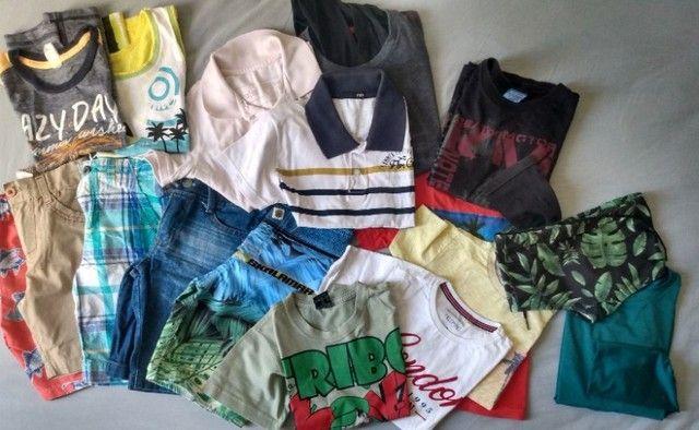 Lote roupas menino kids 3 e 4 anos bermudas camisetas moda praia verão