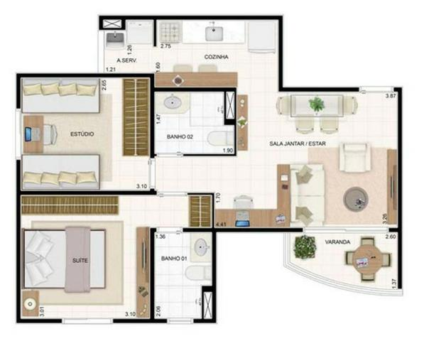 Oportunidade Unica da construtora : Vita andar alto com 49m² com 2/4