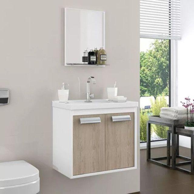Conjunto armário para banheiro rigel com pia XVV627 - Foto 2