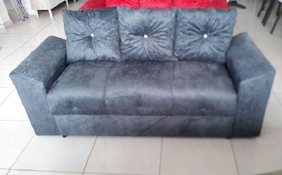 Receba No Mesmo Dia!!Sofa 3 Lugares Com Almofadas Perfeito Para Ambientes Pequenos - Foto 2