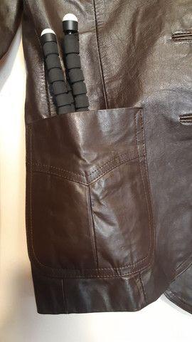 Casaco de couro legítimo marrom - Foto 3
