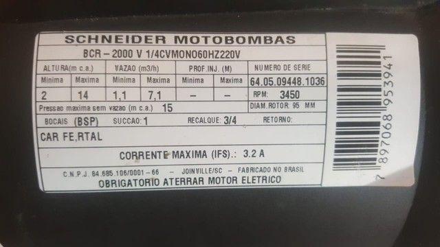 Motor Bomba Bcr-2000 Schneider 1/4cv Monofásica 220v. - Foto 3