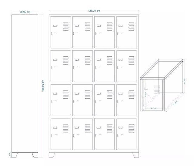 Armário para vestiário com 16 portas - Foto 2