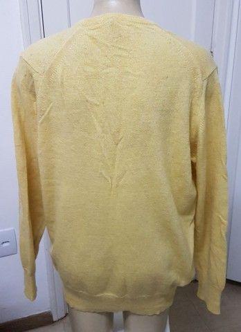 Pouco uso: suéter unissex fino em lã argentina amarelo unissex 48 - Foto 3
