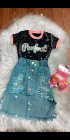 Saia jeans infantil Blogueirinha - Foto 2