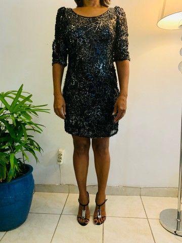 Vestido paetê curto preto P/M  - Foto 5