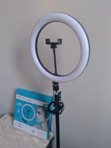 Iluminador Led Ring Light 12 Polegada Tripé 2mt Profissional - Foto 4