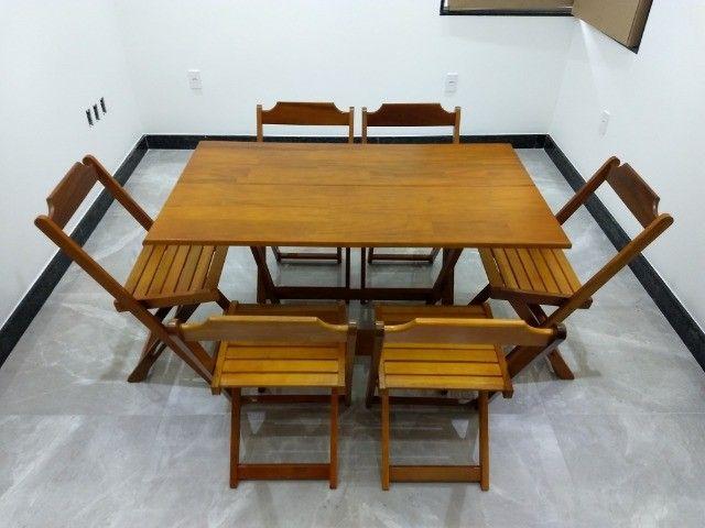 Jogo de Mesa Dobrável 1,20x70 c\6 cadeiras - Foto 2