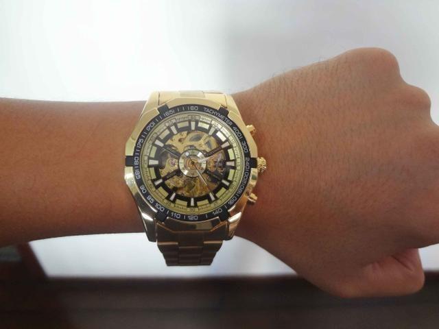4722023558c Relógio Esquelético Automático Forsining Dourado em Aço Inoxidável 100% Novo  e Original