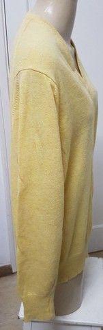 Pouco uso: suéter unissex fino em lã argentina amarelo unissex 48 - Foto 2