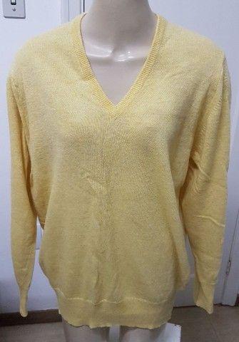 Pouco uso: suéter unissex fino em lã argentina amarelo unissex 48