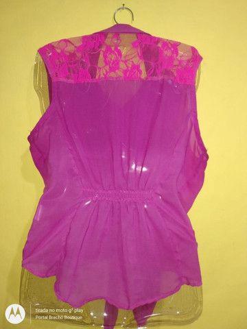 Blusa Feminina Rosa de botão Tam GG ajustável - Foto 2