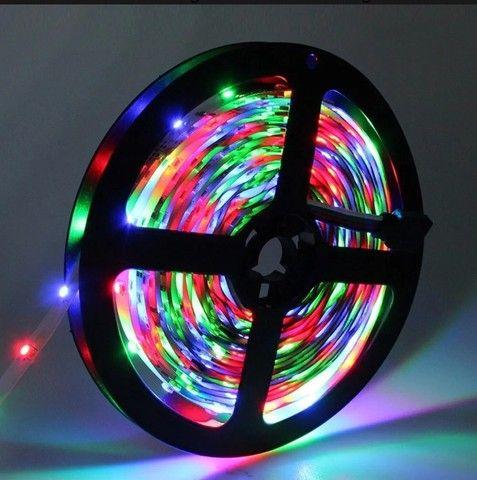 KIT FITA LED COLORIDA 24W 5MTS CONTROLE - Foto 3