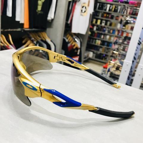 Óculos de Sol Oakley Ouro com Azul Metálico Ciclismo Esporte - Foto 2