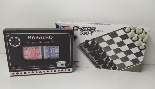 4 Jogos Divertidos Baralho + Dama + Xadrez + Jogo Da Velha