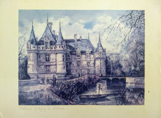 Três litografias de Castelos Franceses