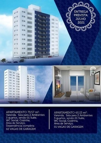 (L)Excelente apartamento 3 quartos, 65m² em Campo Grande - Edf. Costa Vitória