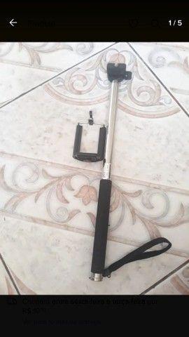 Kit pau de selfie bastão monopod+ controle suporte para celular  - Foto 3