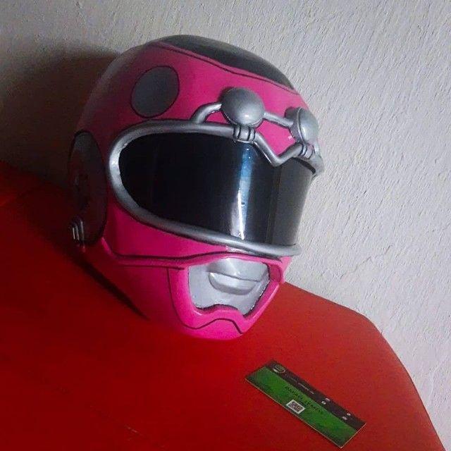 Capacete Power Ranger Turbo Rosa (Cosplay) - Foto 3