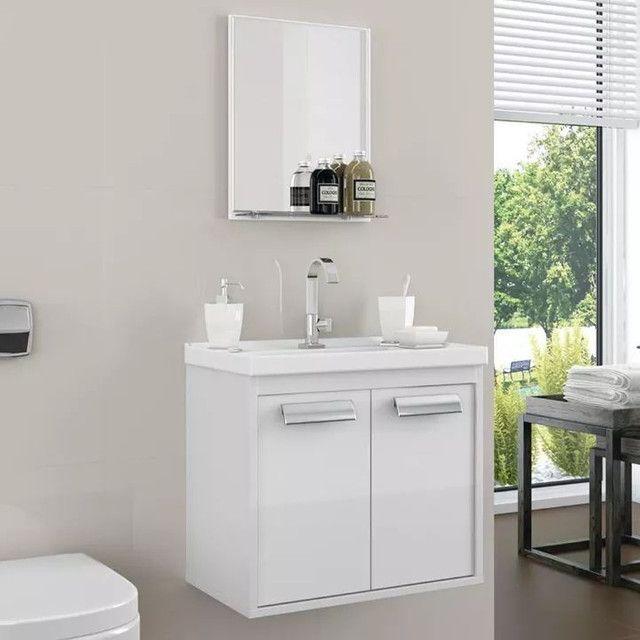 Conjunto armário para banheiro rigel com pia XVV627 - Foto 3